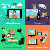 Video Industry Blogger Filming Design Flat. Video blogger, caricature edition, clip music, filming and blog, social media, fashion blogger, movie cinema Royalty Free Stock Photography