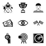Video information icons set, simple style. Video information icons set. Simple set of 9 video information vector icons for web isolated on white background Royalty Free Stock Images