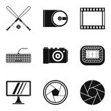 Video information icons set, simple style. Video information icons set. Simple set of 9 video information vector icons for web isolated on white background Royalty Free Stock Photography