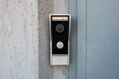 Video intercom in the entry of a house. Close up modern video intercom in the entry of a house Stock Images