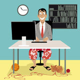 Video job interview. Man in a business suit coat and swim shorts sitting in front of a computer, having a video job interview or working from home, EPS 8 vector Royalty Free Stock Photos