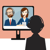 Video Job interview. Officer and candidate. Flat vector ilustration royalty free illustration