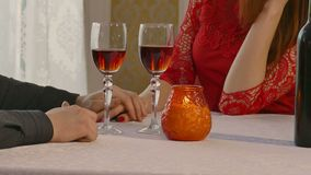Video 4K man and woman romantic evening in restaurant drinking wine, Valentine's Day. Video 4K  man and woman romantic evening in restaurant drinking wine stock video