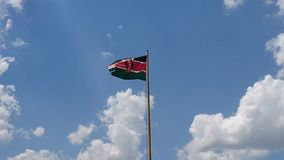 Kenyan flag blowing in the wind stock video footage