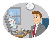 Video languages. Cartoon illustration of a guy and video languages Stock Photo
