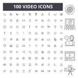 Video linje symboler, tecken, vektoruppsättning, översiktsillustrationbegrepp royaltyfria foton