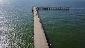 Video Litauen för bästa sikt 4K UHD för surr för Palanga Lietuva Östersjön sjösida flyg- lager videofilmer