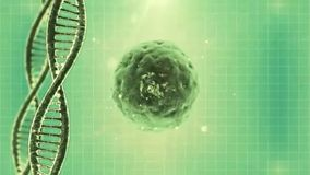 Looping science green background with DNA molecule and particulars. Video of Looping science green background with DNA molecule and particulars stock video