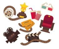 Video macchina da presa di retro del cinema del cinema di vettore film delle icone, vetri della soda 3d del popcorn Fotografia Stock