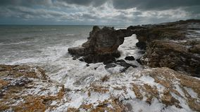 Stormy morning at the Black Sea coast stock video