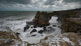 Stormy morning at the Black Sea coast stock video footage