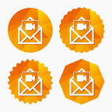 Video mail icon. Video camera symbol. Message. Royalty Free Stock Image