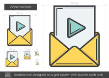 Video mail line icon. Video mail vector line icon isolated on white background. Video mail line icon for infographic, website or app. Scalable icon designed on Royalty Free Stock Photo