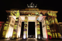 Video mapping projections projected at the Brandenburg Tor Brandenburg gate in Berlin during the 12th Festival of Lights in 2016 Royalty Free Stock Photos