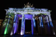 Video mapping projections projected at the Brandenburg Tor Brandenburg gate in Berlin during the 12th Festival of Lights in 2016 Royalty Free Stock Photo