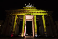 Video mapping projections projected at the Brandenburg Tor Brandenburg gate in Berlin during the 12th Festival of Lights in 2016 Royalty Free Stock Photography