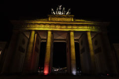 Video mapping projections projected at the Brandenburg Tor Brandenburg gate in Berlin during the 12th Festival of Lights in 2016 Stock Images
