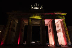 Video mapping projections projected at the Brandenburg Tor Brandenburg gate in Berlin during the 12th Festival of Lights in 2016 Stock Photos