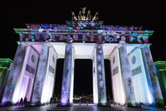 Video mapping projections projected at the Brandenburg Tor Brandenburg gate in Berlin during the 12th Festival of Lights in 2016 Stock Photo