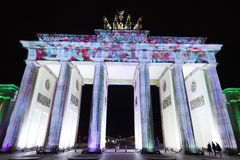 Video mapping projections projected at the Brandenburg Tor Brandenburg gate in Berlin during the 12th Festival of Lights in 2016 Stock Photography