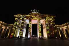 Video mapping projections projected at the Brandenburg Tor Brandenburg gate in Berlin during the 12th Festival of Lights in 2016 Royalty Free Stock Image