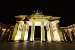 Video mapping projections projected at the Brandenburg Tor Brandenburg gate in Berlin during the 12th Festival of Lights in 2016 Stock Image