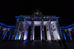 Video mapping projections projected at the Brandenburg Tor Brandenburg gate in Berlin during the 12th Festival of Lights in 2016 Royalty Free Stock Images