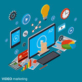 Video marketing, advertising, promotion vector concept Stock Images