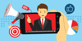 Video marketing advertising with viral content. Vector illustration royalty free illustration