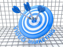 Video Marketing: arrows hitting the center of target Stock Photo