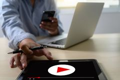 VIDEO MARKETING Audio Video , market Interactive channels , Business Media Technology innovation Marketing technology concept. D royalty free stock image