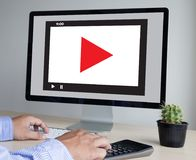 VIDEO MARKETING Audio Video , market Interactive channels , Bu royalty free stock image