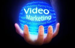 Video Marketing blue background model concept. BLUE Stock Images