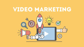 Video marketing concept vector illustratie
