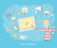 Video Marketing Concept. Video marketing. Approaches, methods and measures to promote products and services based on video. Video marketing business flat. Online Stock Images