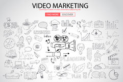 Video Marketing concept with Doodle design style : Stock Photos