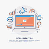 Video Marketing concept with features. Video Marketing concept with creative Infographic elements, features and laptop showing video screen Stock Photography
