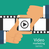 Video marketing concept. Video filming isolated. Movie time. Presentation advertise, blogging, streaming, television, share content. Coming soon. Hand frame on Stock Photos