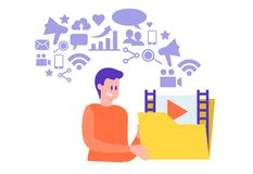 Video marketing concept man holding a folder with video material vector illustration