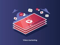 Free Video Marketing Concept. Tablet Screen With An Icon Of Video Pla Stock Photos - 122205753