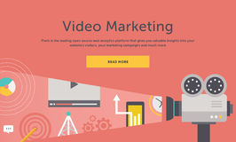 Video Marketing Concept voor Banner, Presentatie vector illustratie
