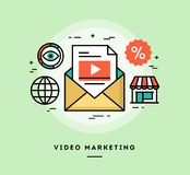 Video marketing, de vlakke banner van de ontwerp dun lijn vector illustratie