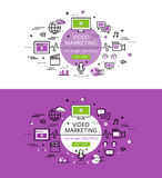 Video Marketing. Flat line color hero images and hero banners de Stock Photo