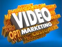 Video Marketing Het woord in Rode Kleur, die door een Wolk van Blauwe Woorden wordt omringd vector illustratie
