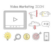 Video Marketing Icons Isolated on White. Collection of video marketing icons. Items to promote products and services based on video. Online video, internet Stock Photos