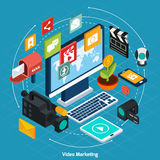 Video Marketing Isometric Concept Royalty Free Stock Photography