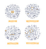 Video Marketing Krabbelillustraties vector illustratie