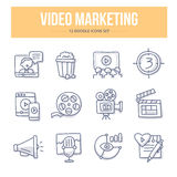 Video Marketing Krabbelpictogrammen royalty-vrije illustratie