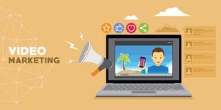 Video marketing met vlog en reclame royalty-vrije illustratie