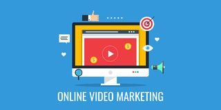 Video marketing, online video, live streaming. Flat design marketing banner. Concept of online video marketing, audience viewing, video conference and tutorial Stock Photo